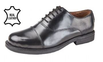 Black Leather Oxford Cadet Shoe